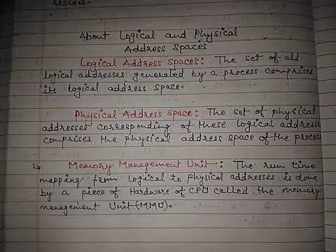 Concept of Logical & Physical Address Space in OS [ Hindi/Eng ] By Anuj