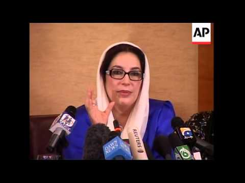 AP pix as Benazir Bhutto gives presser ahead of return to Pakistan