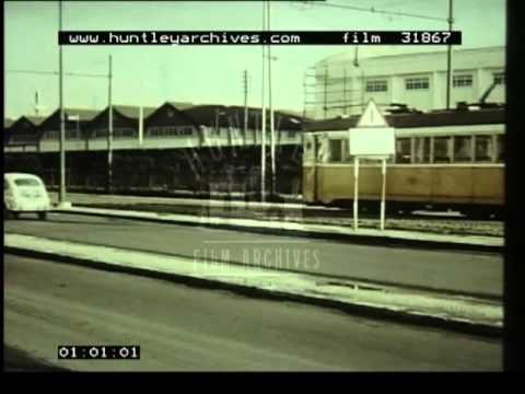 Trams in Lisbon, Portugal in 1964.  Film 31867