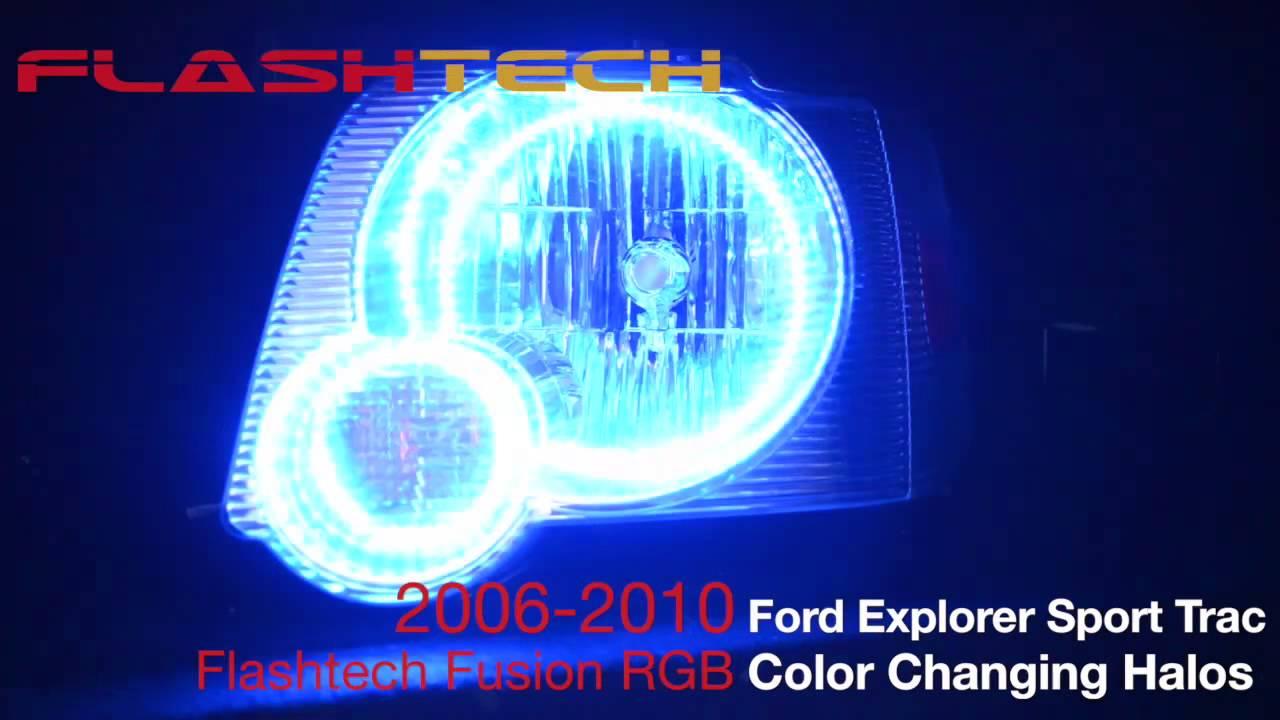 Ford Sport Trac >> Ford Explorer Sport Trac V.3 Fusion Colorshift halo headlight kit (2006-2010) - YouTube
