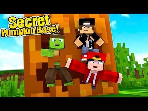Minecraft Secret Base - HOW TO MAKE A SUPER SECRET BASE INSIDE A PUMPKIN!!