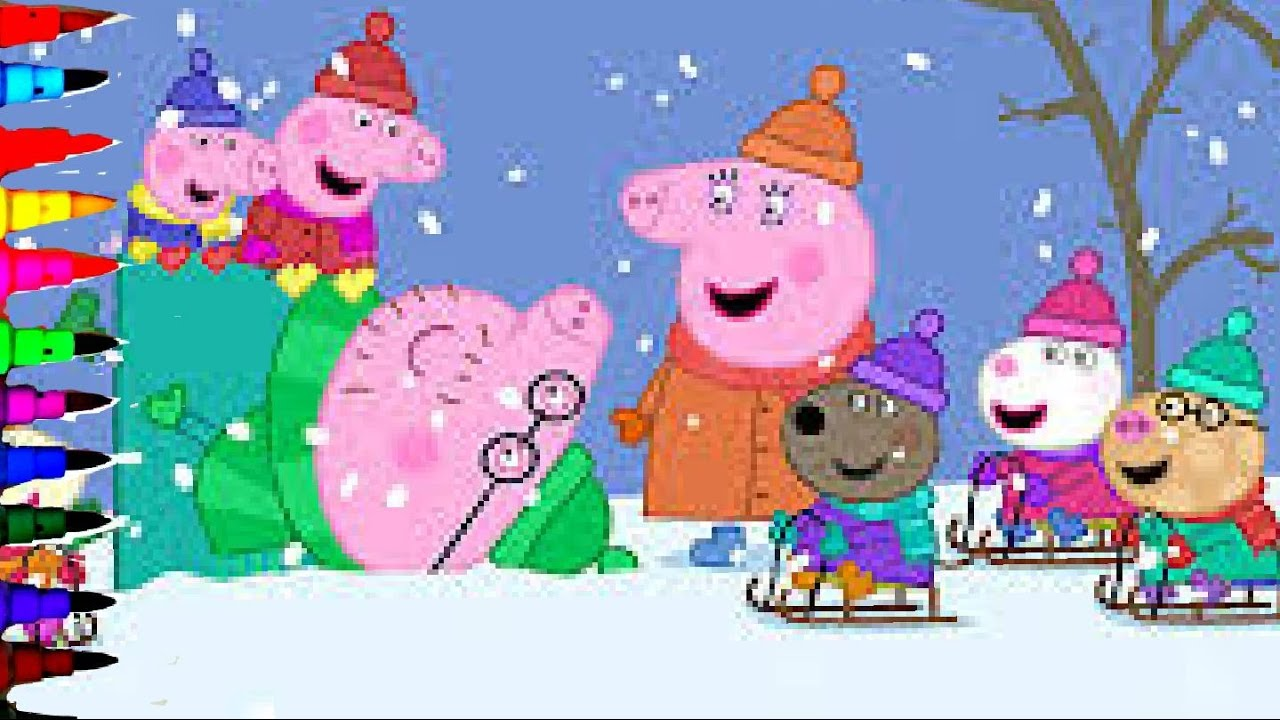Peppa Pig and Gee Winter Snow Making Snowman Coloring Book Pages Coloring Videos For Kids Art