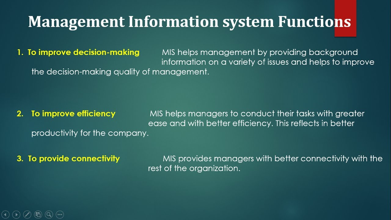 Functions And Characteristics Of Management Information
