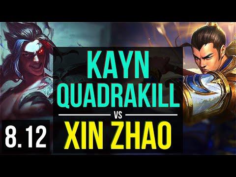 KAYN vs XIN ZHAO (JUNGLE) ~ Quadrakill, KDA 18/0/10, Legendary ~ NA Master ~ Patch 8.12