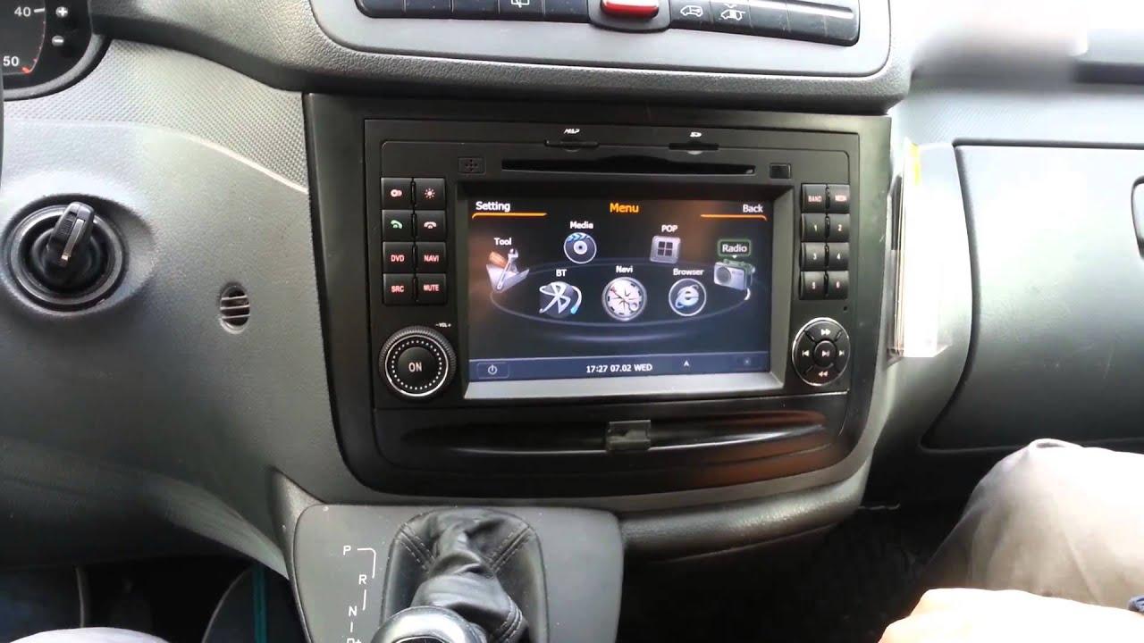 Montering av Mercedes Benz bilstereo Vito Viano sprinter vw crafter dvd gps multimedia - YouTube