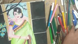 how to draw indian woman easily step by step