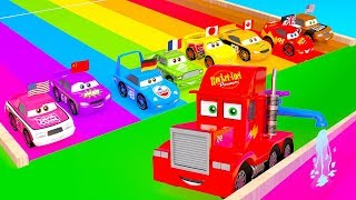 Mack Truck make a Car Racing 3D Color Track Set. Cars McQueen Friends Track Racing for kids learning