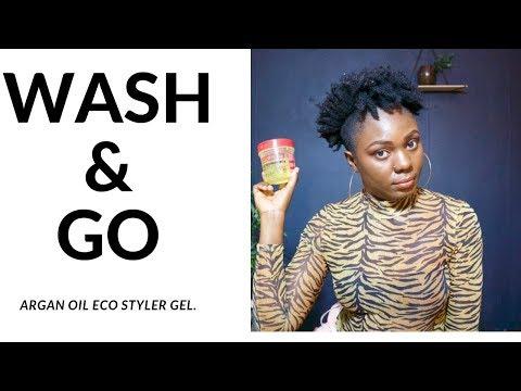 Wash and Go on Short/ Medium Natural Hair Tutorial. Using the Eco styler gel. thumbnail