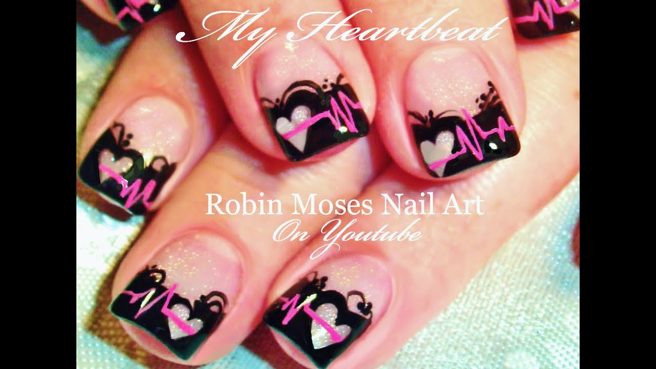 Valentine's Day Nails | Black Lace with Heart Beat EKG Nail Art Design -  YouTube - Valentine's Day Nails Black Lace With Heart Beat EKG Nail Art