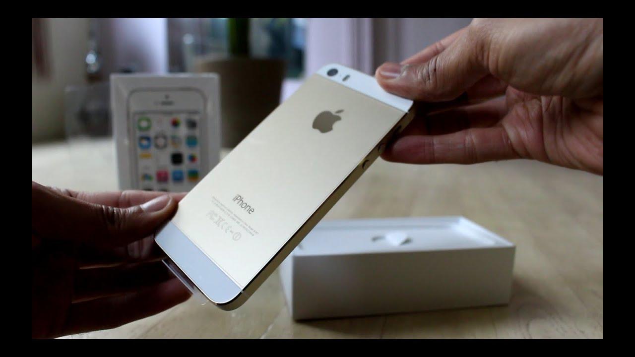 unboxing apple iphone 5s gold white 1er d ballage de l. Black Bedroom Furniture Sets. Home Design Ideas