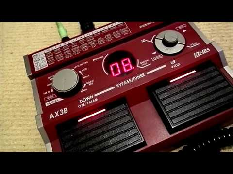 Korg AX3B Bass effects pedal used with a 6-string guitar - pretty good results.
