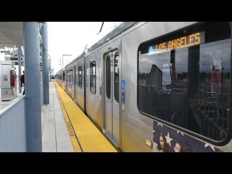 LA Metro Rail: 2015 Kinki Sharyo P3010 Expo Line at Expo/La Brea Station (Downtown L.A.)