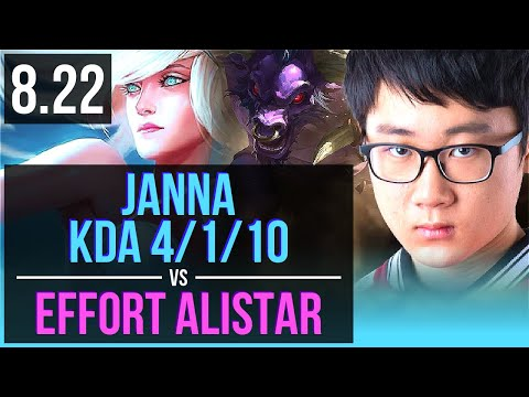 JANNA & Ruler Kai'Sa vs Effort ALISTAR & Lucian (SUPPORT) | KDA 4/1/10 | Korea Challenger | v8.22