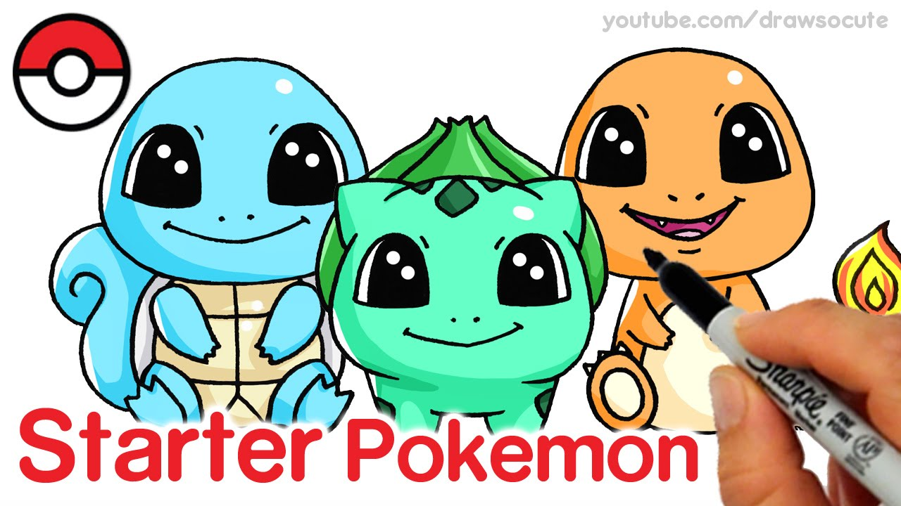 how to draw squirtle bulbasaur and charmander step by step cute