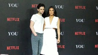PENN BADGLEY and SHAY MITCHELL of Netflix Original Series, YOU exclaims