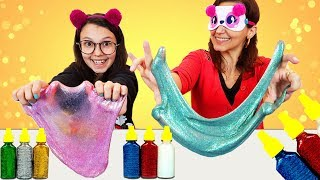 DESAFIO DO SLIME COM 3 CORES DE COLA GLITTER (3 COLORS OF GLUE SLIME CHALLENGE) | Luluca