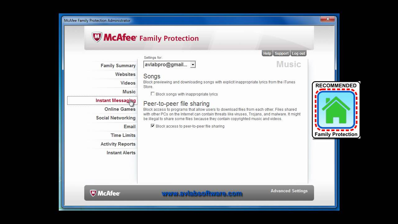 Family protection software