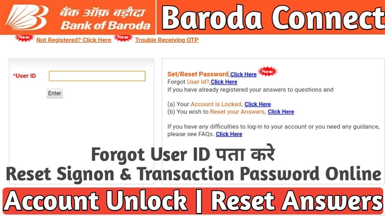 bank of baroda net banking user id