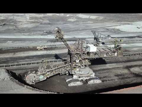 Huge Bucket Wheel Excavator Mining Coal - Aerial View