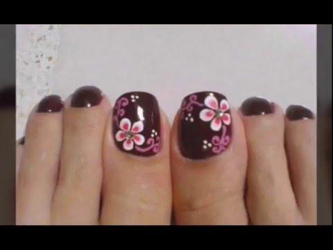 Decoracion De Uñas De Los Pies Sencillas Con Flores Youtube
