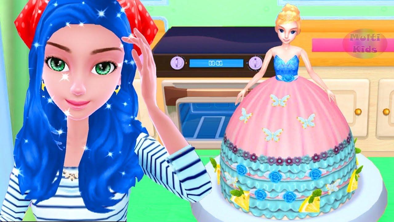 Masak Masakan Membuat Kue Barbie Lucu Permainan Anak Perempuan Youtube