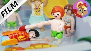 摩比游戏 Playmobil 玩偶影片 小尤在游泳池遇见尤里安 救命,我不会游泳!