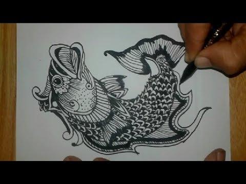 Drawing Vignette Fish Cork Quick Batik Ornamen Ikan Gabus Youtube