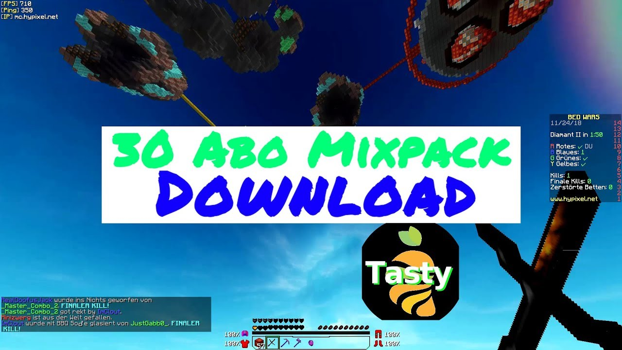 Betten 24 De Tastygaming 30 Abo Mixpack Download Minecraft Bedwars Pack