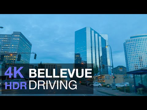 Driving Downtown - Bellevue 4K UHD HDR - Seattle USA