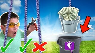Can't CUT the Wrong Rope or Lose! Challenge Game with HobbyKidsTV