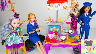 New Toys Unboxing Barbie Pilot & Flight Attendant Doll & Food Stand & Ever After High Tea Playset