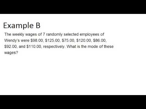 Modes: Examples (Basic Probability and Statistics Concepts)