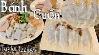 Vài bí quyết pha bột làm bánh cuốn nhân thịt chả lụa mềm dẻo và rất ngon - Steamed Rice Rolls