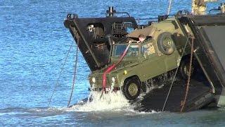 Royal Marines, Landing Craft, Training. Pentewan beach, Cornwall
