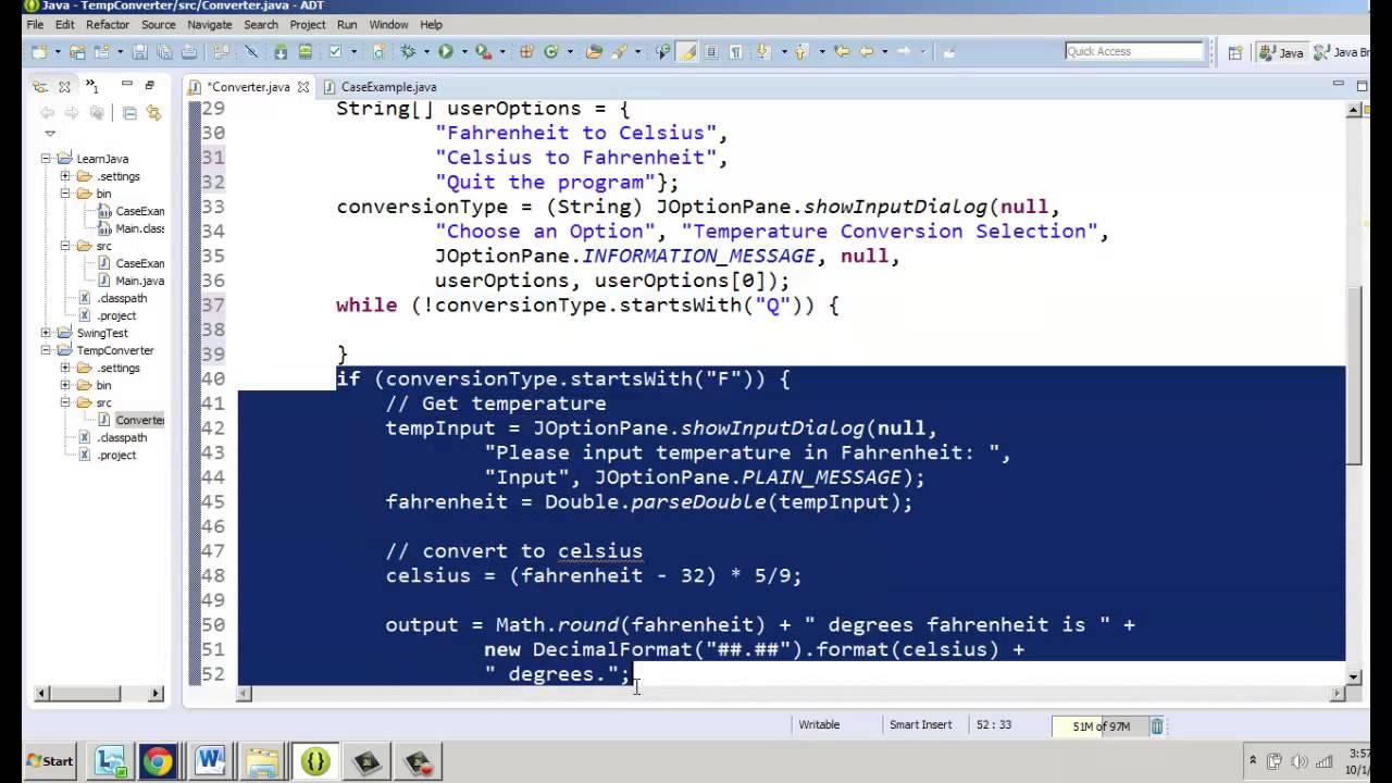 Basic Java Temperature Converter Part 5