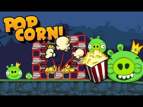 Pig and King Pig eat POPCORN! - Bad Piggies Inventions