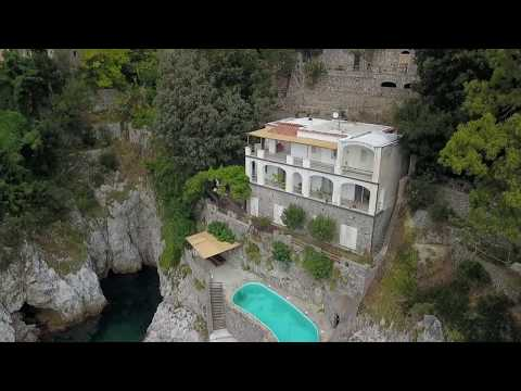 Amalfi Coast Seafront Property For Sale with parking, guest home, pool and boat access