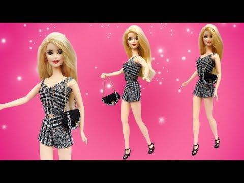 May bộ sooc kẻ cho búp bê | DIY Barbie clothes