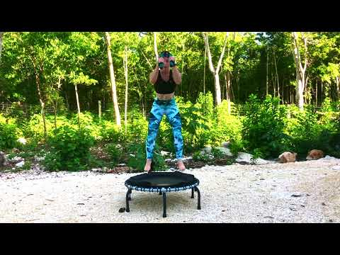 20 Minutes Intermediate Weighted Bounce Fit Circuit on a Rebounder/Fitness Trampoline