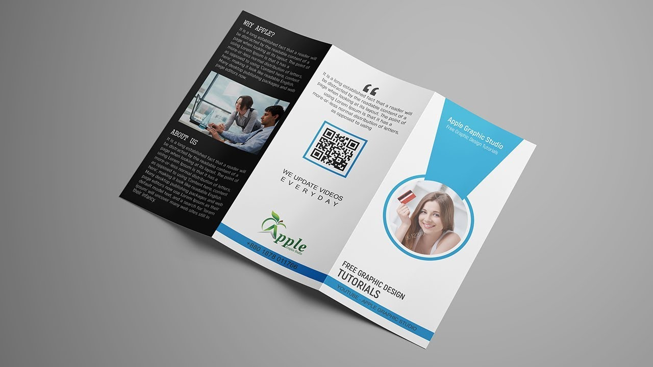 How To Create Tri Fold Brochure Template Design For Printing - Photoshop tri fold brochure template free