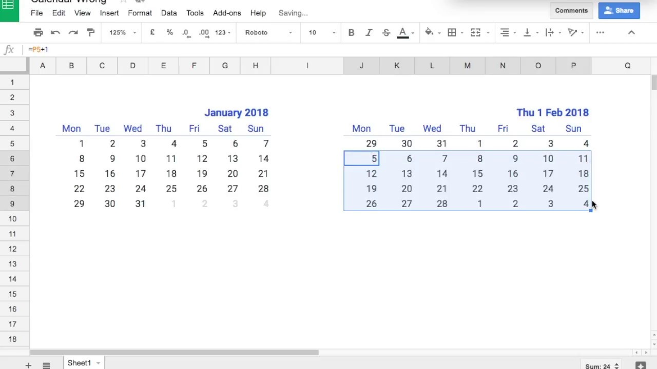 How I create a truly dynamic calendar in Excel or Sheets