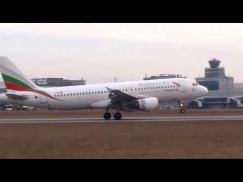 A320 Bulgaria Air landing at Prague Airport, 19.02.2017