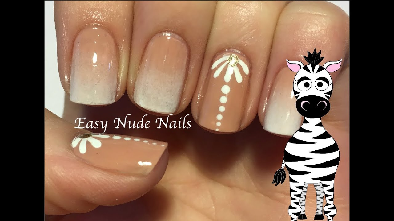 Easy nude nail art design tutorial youtube prinsesfo Gallery