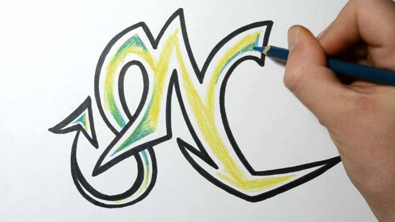 how to draw wild graffiti letters - n