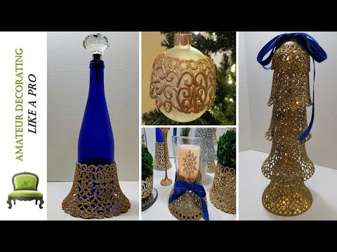 NEW! Dollar Tree Christmas Bell  DIY's| Bottle & Candle Wraps , Christmas Tree & More