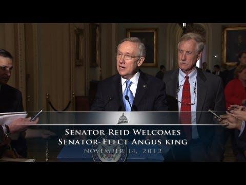Senator Reid Welcomes Senator-Elect Angus King