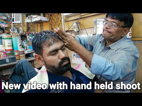 Head massage with neck cracking by indian barber ASMR videos.