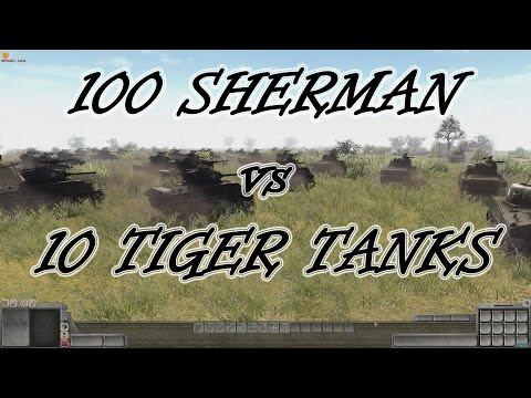 Men of War Assault Squad 2 - 100 Sherman vs 10 Tiger Tanks! - Editor Scenario #1 |