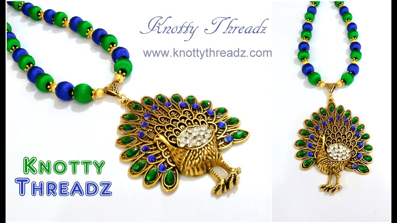 Silk thread jewelry making of antique peacock pendant necklace silk thread jewelry making of antique peacock pendant necklace festival knottythreadz mozeypictures Image collections