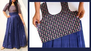 Download Designer Silk Dress Cutting & Sewing | Party Wear Long Gown Cutting and Stitching Mp3 and Videos